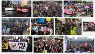 TPP ニュージーランド デモ
