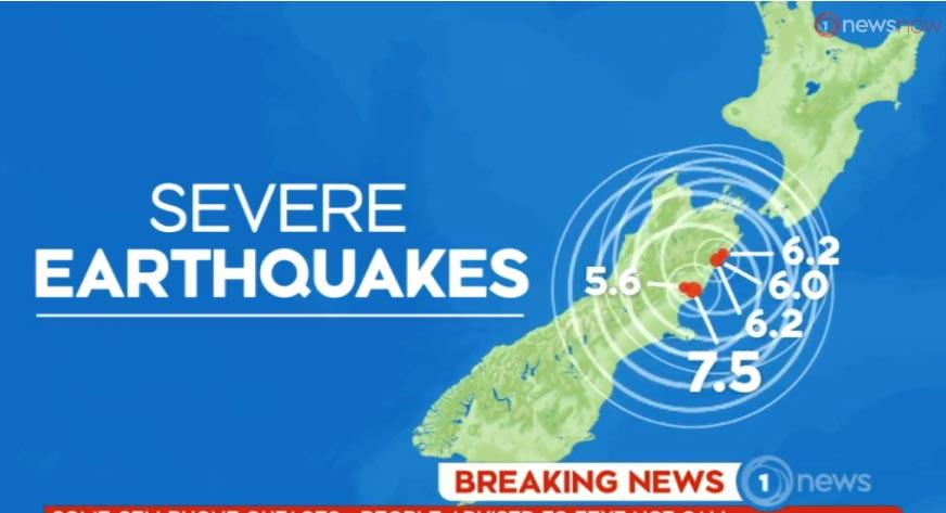 ニュージーランドで地震