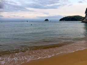 ニュージーランドのビーチで遊ぶ